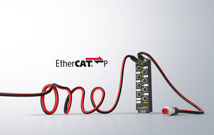 EtherCAT P combines ultra-fast communication and power supply in a single cable